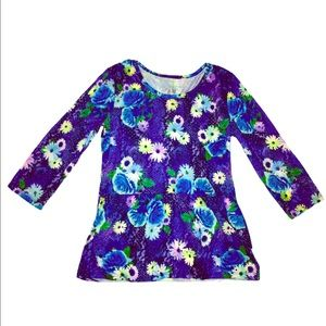 Floral Sparkly Long Sleeve Justice Shirt